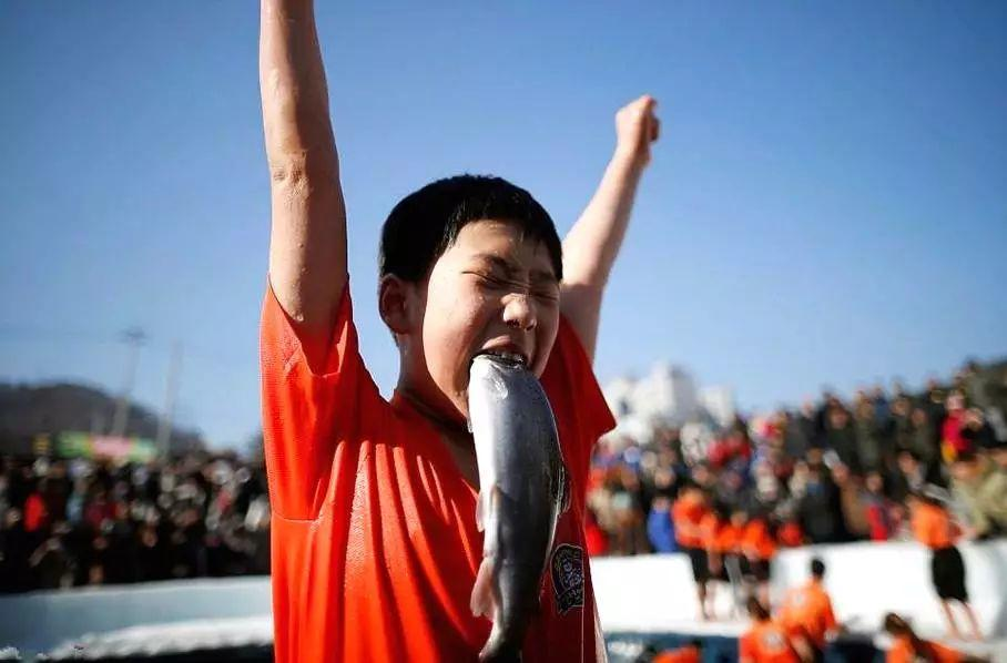韩国冰雪节上太刺激 大冬天徒手抓鳟鱼后咬嘴里