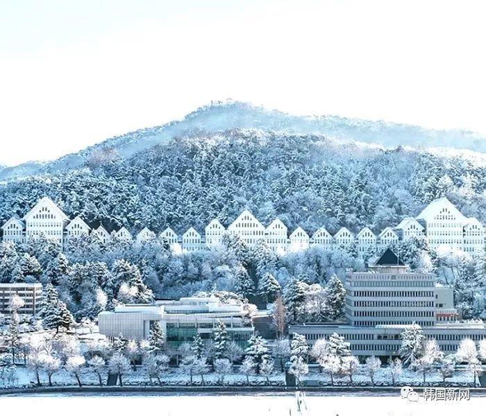 朝鲜大学校园雪后美景 犹如冰雪王国