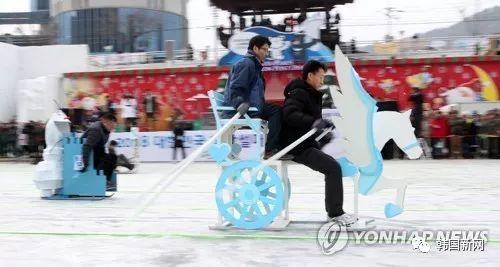 """韩国""""雪橇滑冰大战"""" 创意大比拼"""